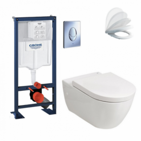 Pack wc suspendu autoportant Rapid SL, cuvette et abattant Soft-Close EMMA