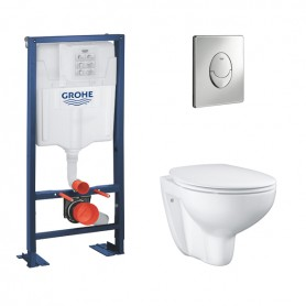 Pack WC suspendu Grohe Rapid SL + Skate Air chromé + Cuvette Bau Ceramic + Abattant Soft-close