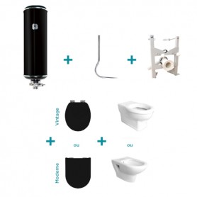 Pack WC suspendu réservoir hydrochasse Atlas + bâti-support + cuvette + abattant
