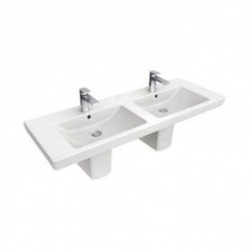Lavabo suspendu double vasque 130cm 'SUBWAY 2.0'