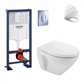 Pack WC suspendu compact GROHE rapid SL + Cuvette et abattant Soft close