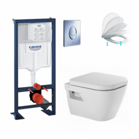 Pack WC suspendu Rapid Sl autoportant, cuvette suspendue Look