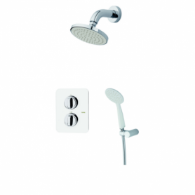 Kit douche encastrable thermostatique Blanc/Chromé DESPERTAR