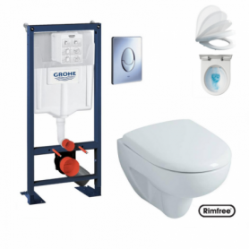 Pack WC suspendu RAPID SL + Skate air chromé + cuvette PRIMA Rimfree® + abattant Soft-Close