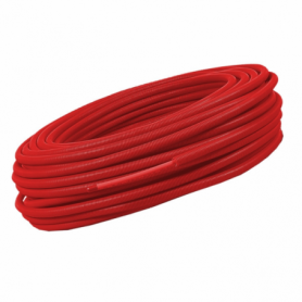 Tube PER rouge gainé 13x16, couronne de 100m