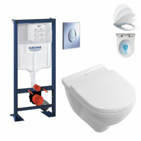 Pack wc suspendu RAPID SL + cuvette DirectFlush O.NOVO abattant Soft-Close Villeroy & Boch